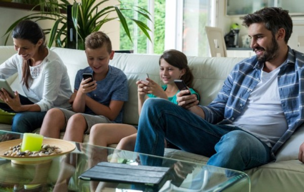 family-using-devices